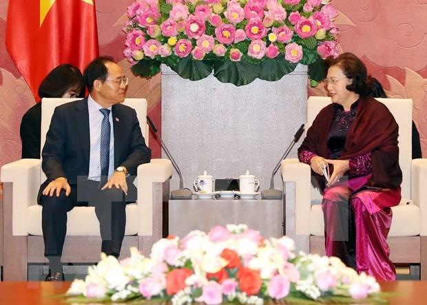 La presidente de l'AN Nguyen Thi Kim Ngan recoit l'ambassadeur sud-coreen hinh anh 1