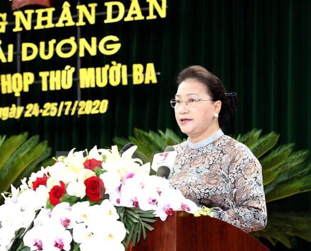 La presidente de l'AN salue les efforts de developpement de la province de Hai Duong hinh anh 1