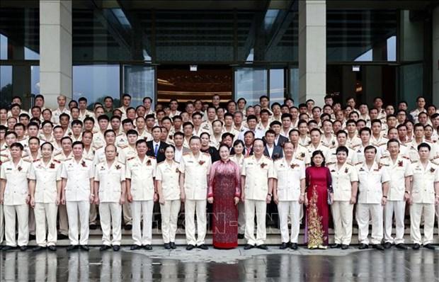 La presidente de l'AN salue les contributions des forces policieres a la garantie de la securite hinh anh 1