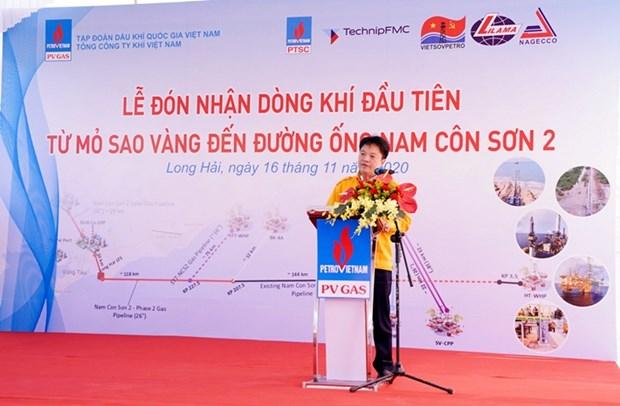 PV Gas accueille le premier flux de gaz du champs SV au gazoduc de Nam Con Son 2 hinh anh 2