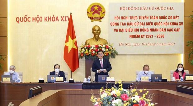Le president de l'AN Vuong Dinh Hue preside la Conference nationale sur les elections legislatives hinh anh 2
