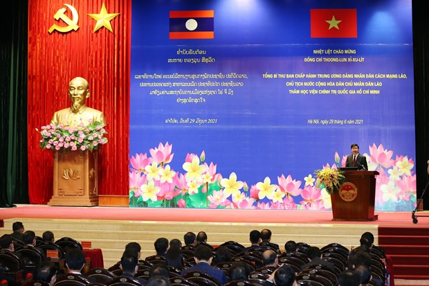 Le dirigeant lao Thongloun Sisoulith se rend a l'Academie nationale de politique Ho Chi Minh hinh anh 1