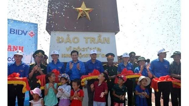 Au Nord, un mat au drapeau national inaugure sur l'ile de Tran hinh anh 1