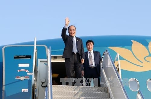 Le president de l'AN Nguyen Sinh Hung arrive a New York hinh anh 1