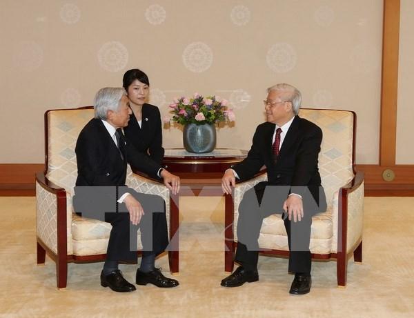 Entrevue entre le leader du PCV et l'empereur du Japon hinh anh 1
