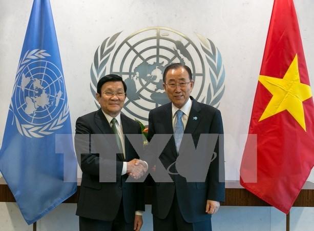 Entrevue Truong Tan Sang – Ban Ki-moon hinh anh 1