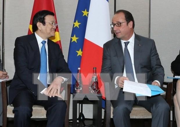 Le president Truong Tan Sang rencontre son homologue francais Francois Hollande hinh anh 1