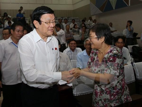 Truong Tan Sang a la rencontre des electeurs de Ho Chi Minh-Ville hinh anh 1
