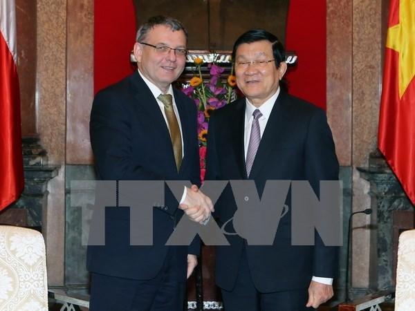 Le president Truong Tan Sang recoit le ministre tcheque des AE hinh anh 1