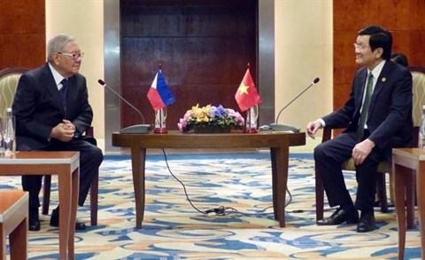 Le president Truong Tan Sang rencontre le president de la Chambre basse des Philippines hinh anh 1