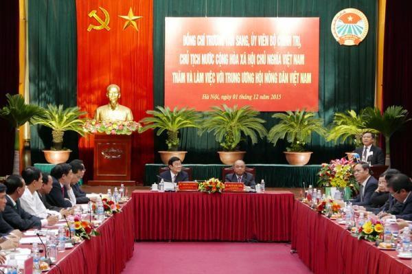 Le president Truong Tan Sang travaille avec l'Association des agriculteurs vietnamiens hinh anh 1