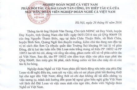 Protestation contre les attaques taiwanaises de bateaux de peche vietnamiens hinh anh 1