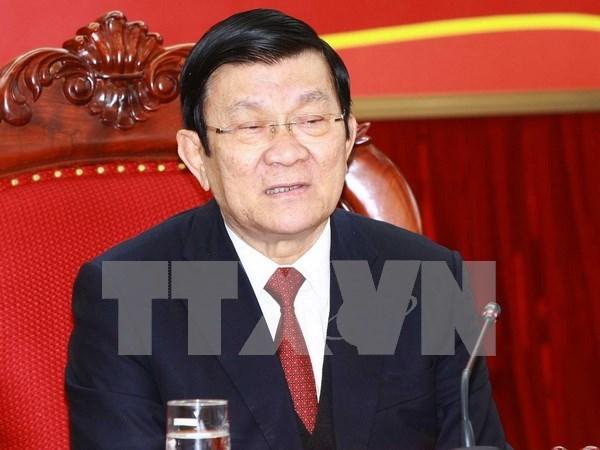 Le president du Vietnam Truong Tan Sang en visite a Long An hinh anh 1