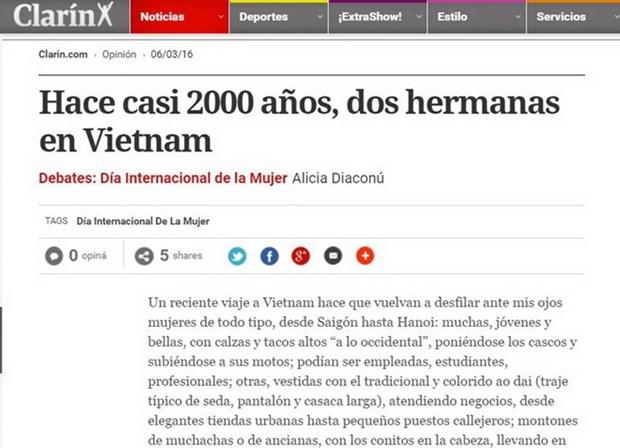 Un journal argentin honore les femmes vietnamiennes hinh anh 1