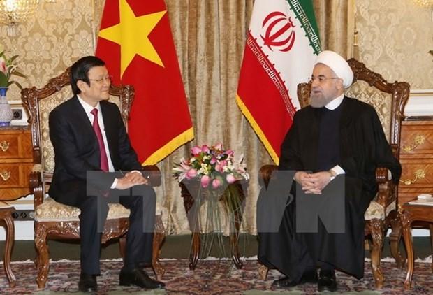 Entretien entre les presidents vietnamien et iranien hinh anh 1