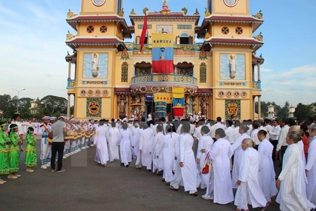 Celebration du 90e anniversaire de la fondation du caodaisme a Ben Tre hinh anh 1