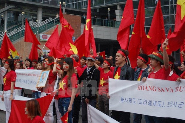 Manifestation a Busan contre les actes chinois illegaux en Mer Orientale hinh anh 1
