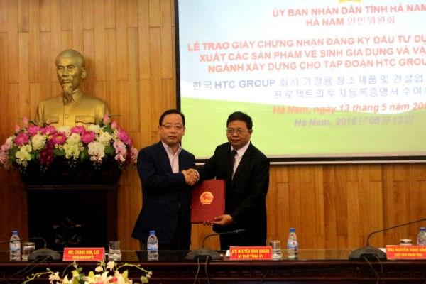 Ha Nam remet la licence d'investissement a un projet sud-coreen hinh anh 1