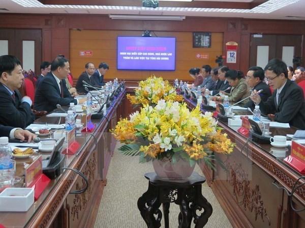 Le vice-president du Laos visite la province de Hai Duong hinh anh 1