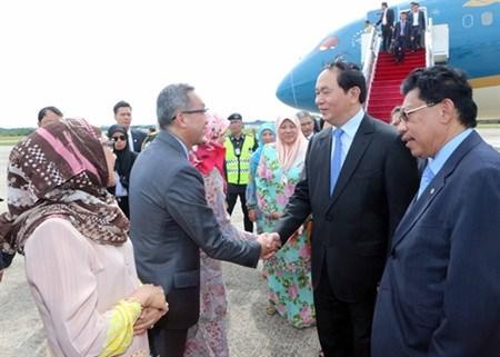 Le president Tran Dai Quang entame sa visite d'Etat au Brunei hinh anh 1