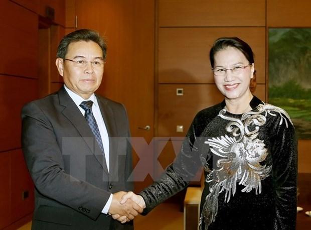 La presidente de l'AN recoit le president du CC du Front d'edification nationale du Laos hinh anh 1