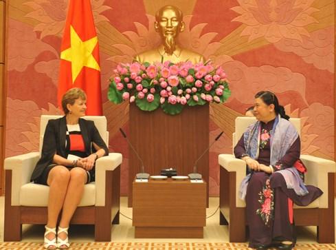 La vice-presidente de l'AN Tong Thi Phong recoit la delegation du Parlement danois hinh anh 1
