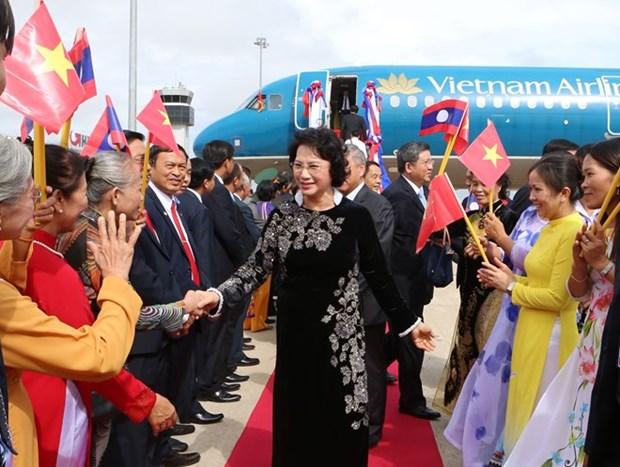 La presidente de l'AN Nguyen Thi Kim Ngan entame sa visite d'amitie officielle au Laos hinh anh 1