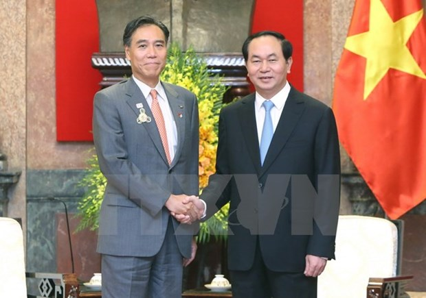 Tran Dai Quang recoit le gouverneur de Nagano et l'ambassadeur mongol hinh anh 2