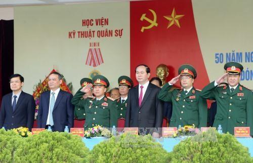 Le chef de l'Etat a la ceremonie celebrant le 50e anniversaire de l'Academie technique militaire hinh anh 1