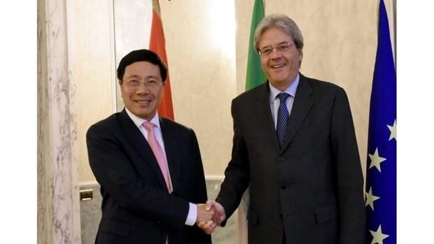 Le vice-PM Pham Binh Minh s'entretient avec le ministre italien des Affaires etrangeres hinh anh 1