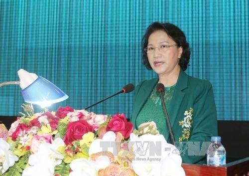 La presidente de l'Assemblee nationale rencontre l'electorat de la 9e zone militaire hinh anh 1