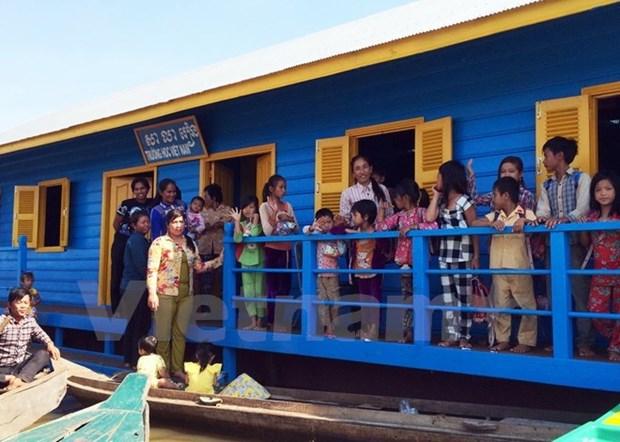 Inauguration d'une ecole pour enfants Viet kieu au Cambodge hinh anh 1