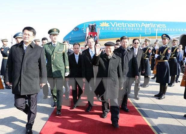 Ceremonie d'accueil du secretaire general du PCV Nguyen Phu Trong a Pekin hinh anh 1