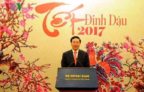 Le vice-Premier ministre Pham Binh Minh rencontre la presse a l'occasion du Tet du Coq hinh anh 1