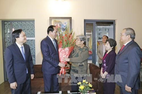 Le president Tran Dai Quang formule ses vœux du Tet a des intellectuels hinh anh 2