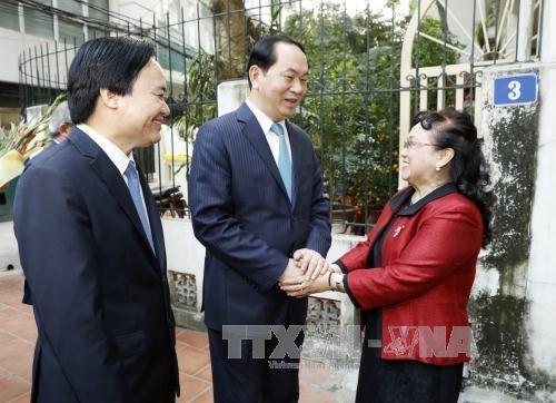 Le president Tran Dai Quang formule ses vœux du Tet a des intellectuels hinh anh 3