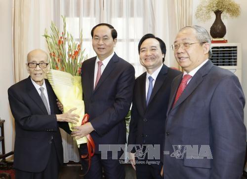 Le president Tran Dai Quang formule ses vœux du Tet a des intellectuels hinh anh 1