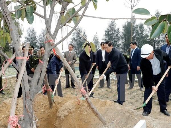 Lancement de la Fete de plantation d'arbres du Printemps Dinh Dau 2017 hinh anh 1