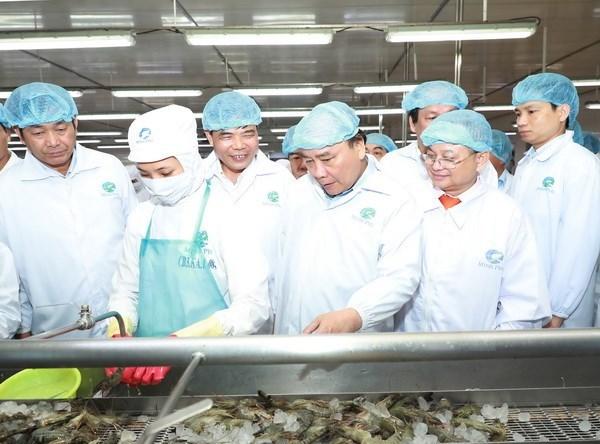 Le Premier ministre Nguyen Xuan Phuc visite la societe Minh Phu de Ca Mau hinh anh 1