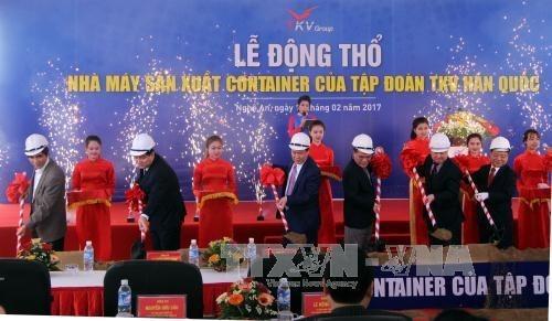 Le sud-coreen TKV met en chantier une usine de production de conteneurs a Nghe An hinh anh 1