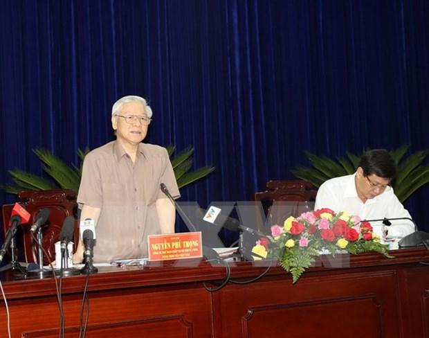 Le secretaire general du Parti travaille dans la province de Bac Lieu hinh anh 1