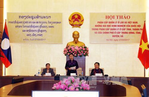 Vietnam-Laos : les AN discutent d'experiences de decentralisation de la gestion hinh anh 1