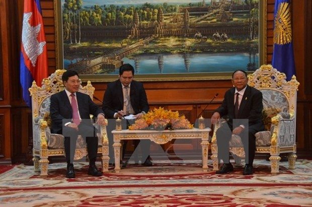 Le president de l'AN cambodgienne recoit le vice-PM Pham Binh Minh hinh anh 1
