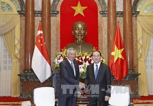 Le president Tran Dai Quang recoit le Premier ministre Lee Hsien Loong hinh anh 1