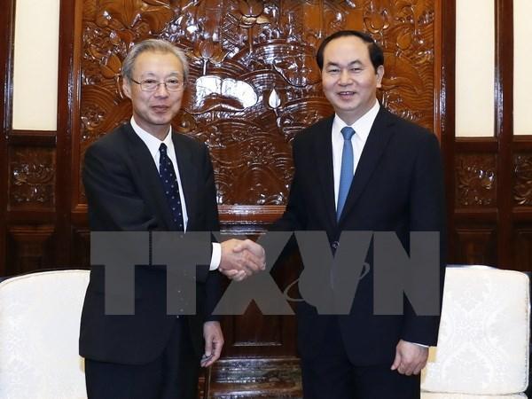 Le president Tran Dai Quang recoit le president et redacteur en chef de Kyodo hinh anh 1