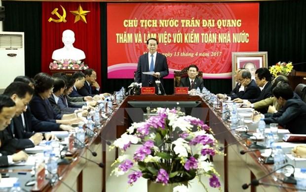 Le president Tran Dai Quang exhorte l'Audit d'Etat a etre actif dans la lutte anti-gaspillage hinh anh 1