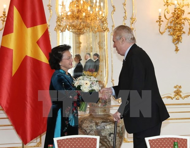 Entrevue entre la presidente de l'AN du Vietnam et le president tcheque hinh anh 1