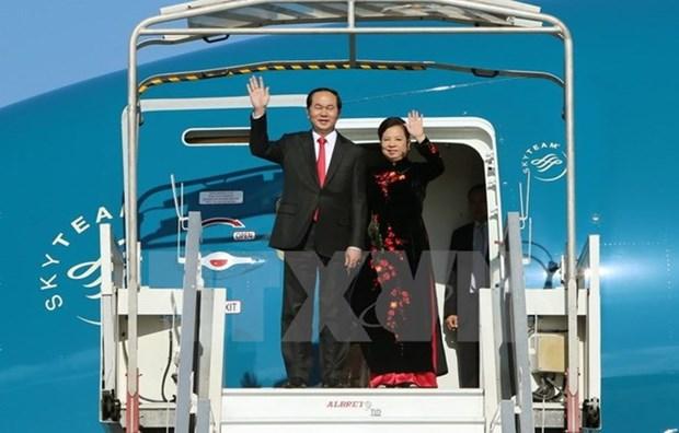 Le president Tran Dai Quang et son epouse en visite d'Etat en Chine hinh anh 1
