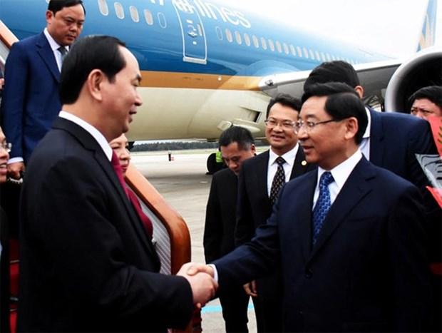 Le president Tran Dai Quang se rend a Fujian hinh anh 1