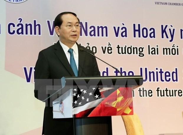 Le chef de l'Etat participe a un colloque sur les relations avec les Etats-Unis hinh anh 1